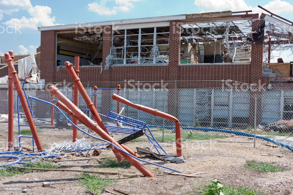 Tornado Damaged Playground and School stock photo