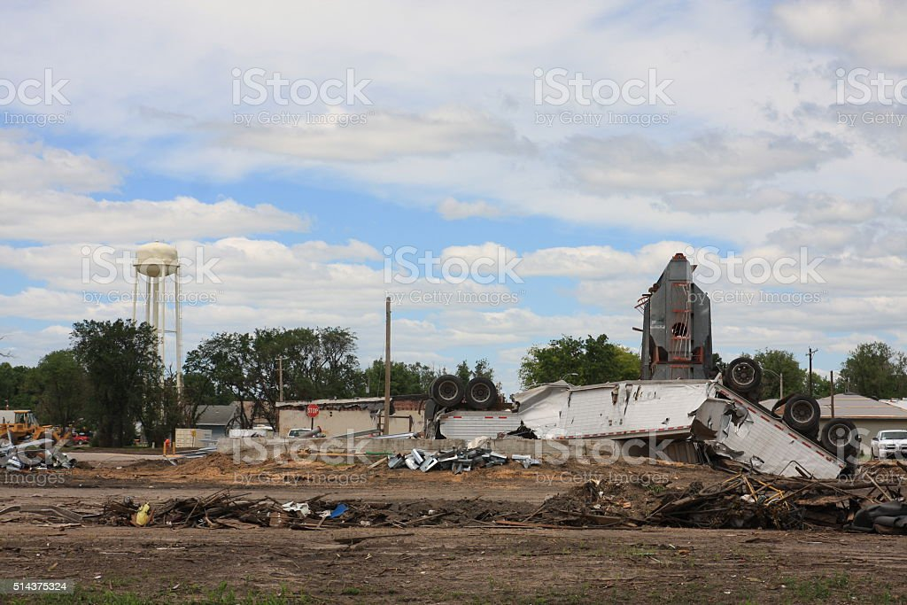 Tornado Debris in Small Midwest Town stock photo