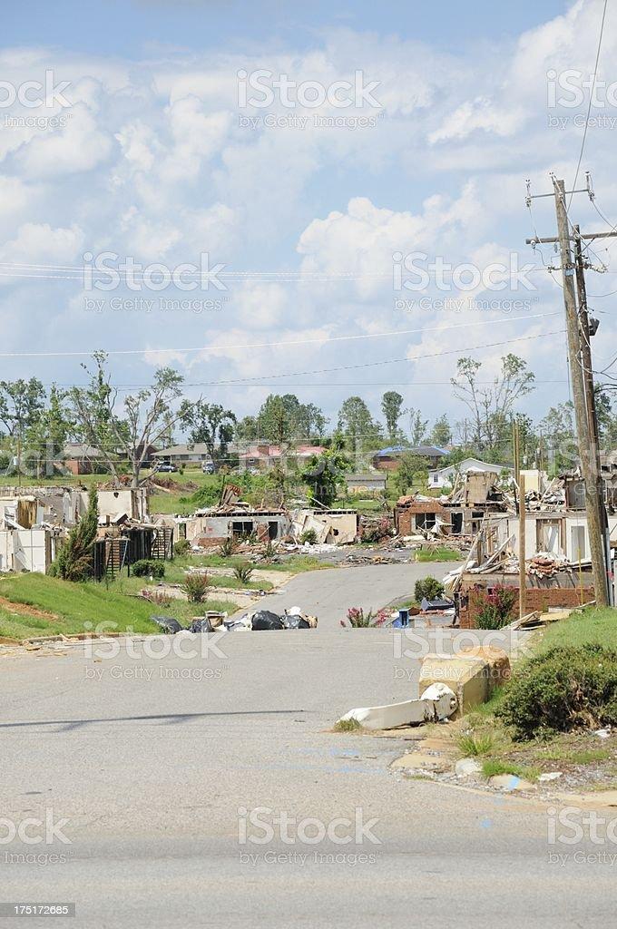 Tornado destroyed neighborhood stock photo