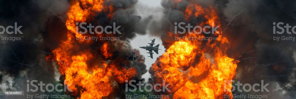 Tornado Fighter Jet and an Explosion royalty-free stock photo