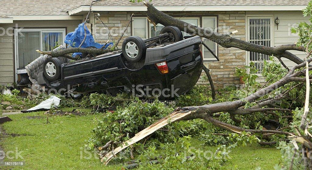 Tornado Flipped Van stock photo