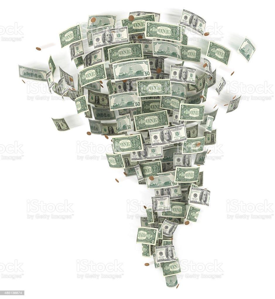 Tornado from money. stock photo