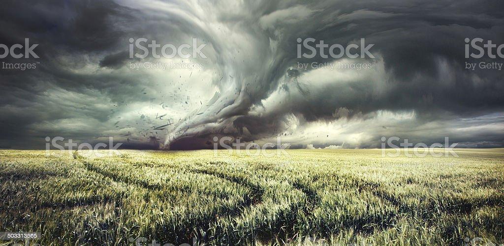 Tornado in countryside field stock photo