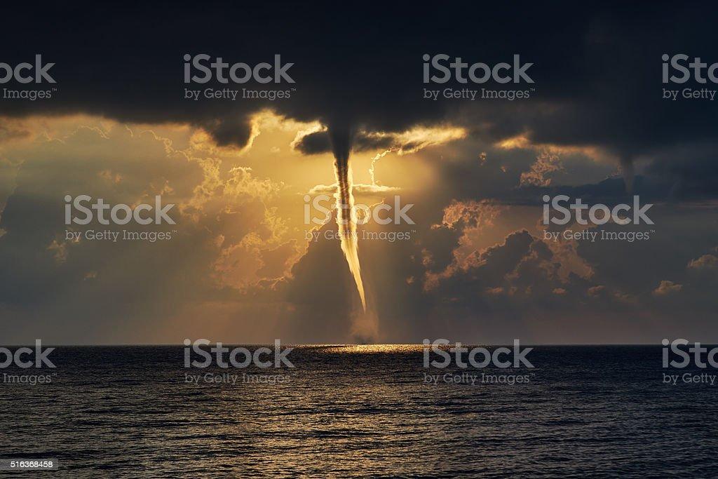 Tornado over sea. stock photo