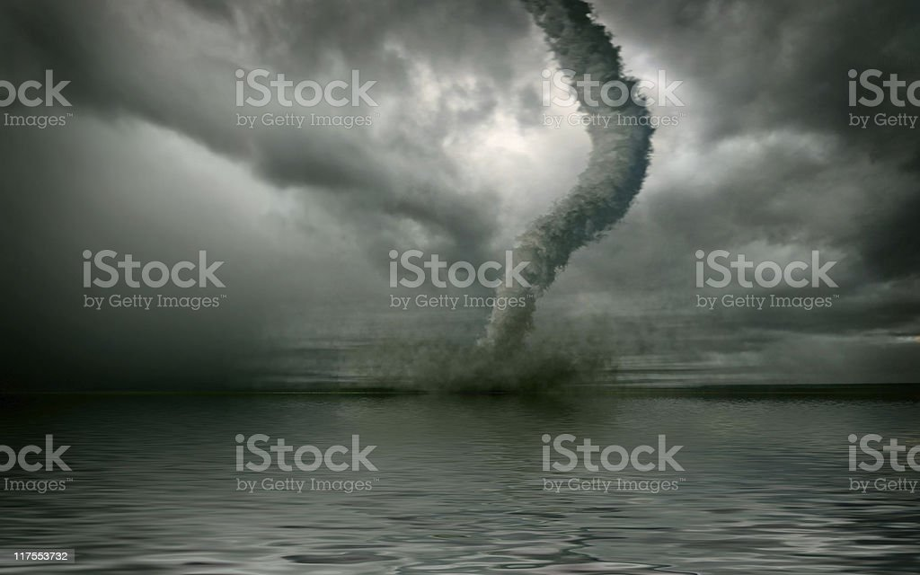 tornado over the water royalty-free stock photo
