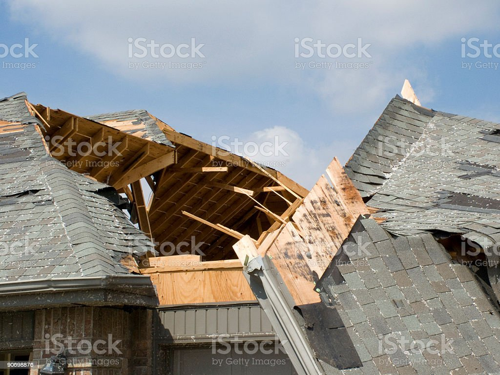 Tornado Roof Slide-Nixa, Missouri stock photo