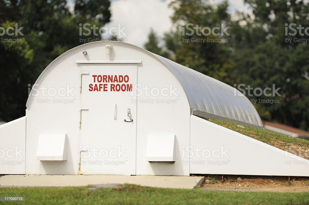 Tornado safe room in community stock photo
