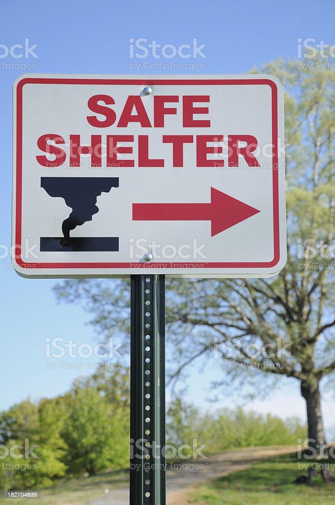 Tornado safe shelter sign royalty-free stock photo