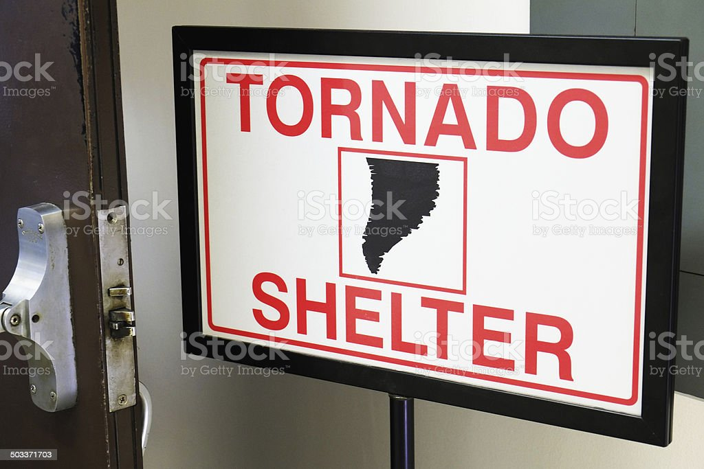 Tornado Shelter Sign stock photo