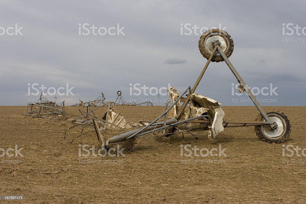 Tornado twisted and crumpled farm sprinkler system, Greeley,Colorado stock photo