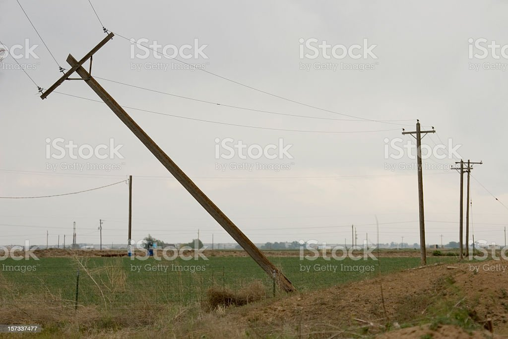 Tornado twisted and snapped power lines Greeley Colorado stock photo