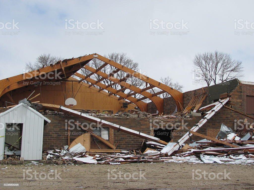 Tornado-Damaged Building in Iowa stock photo