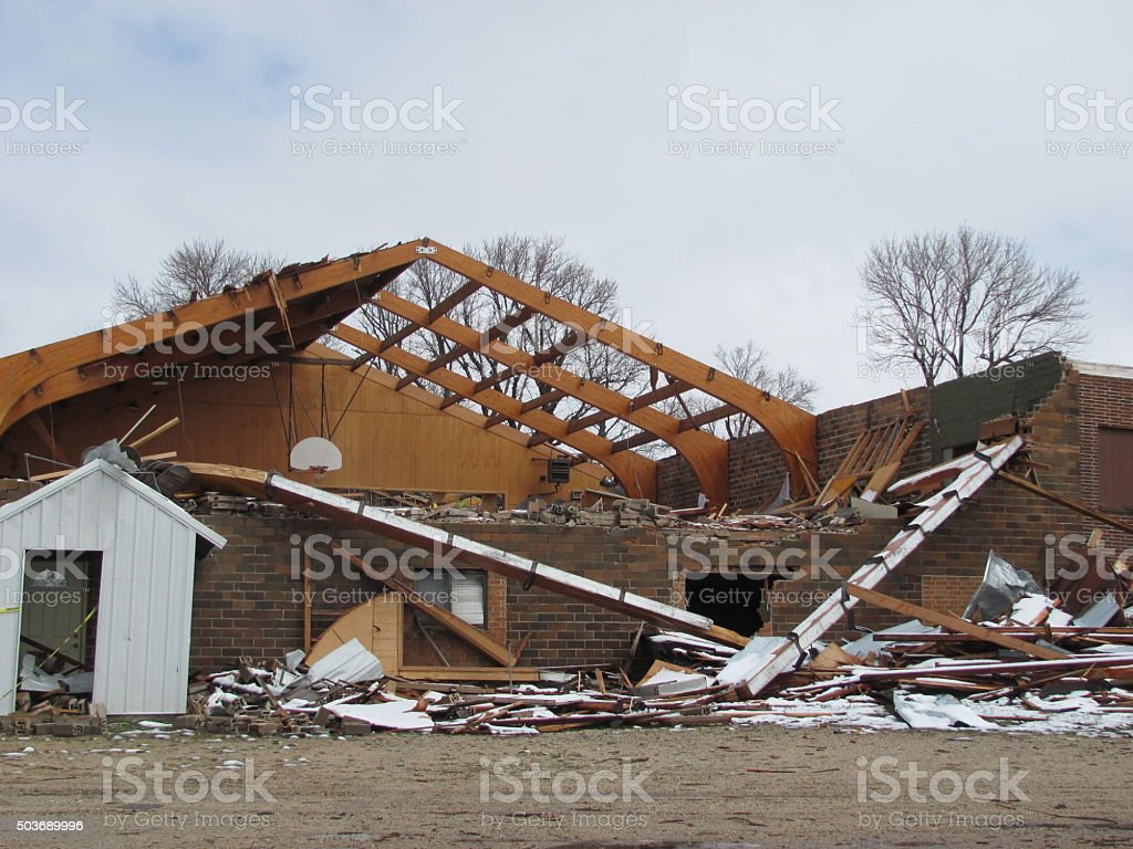Tornado-Damaged Building in Iowa stock photo