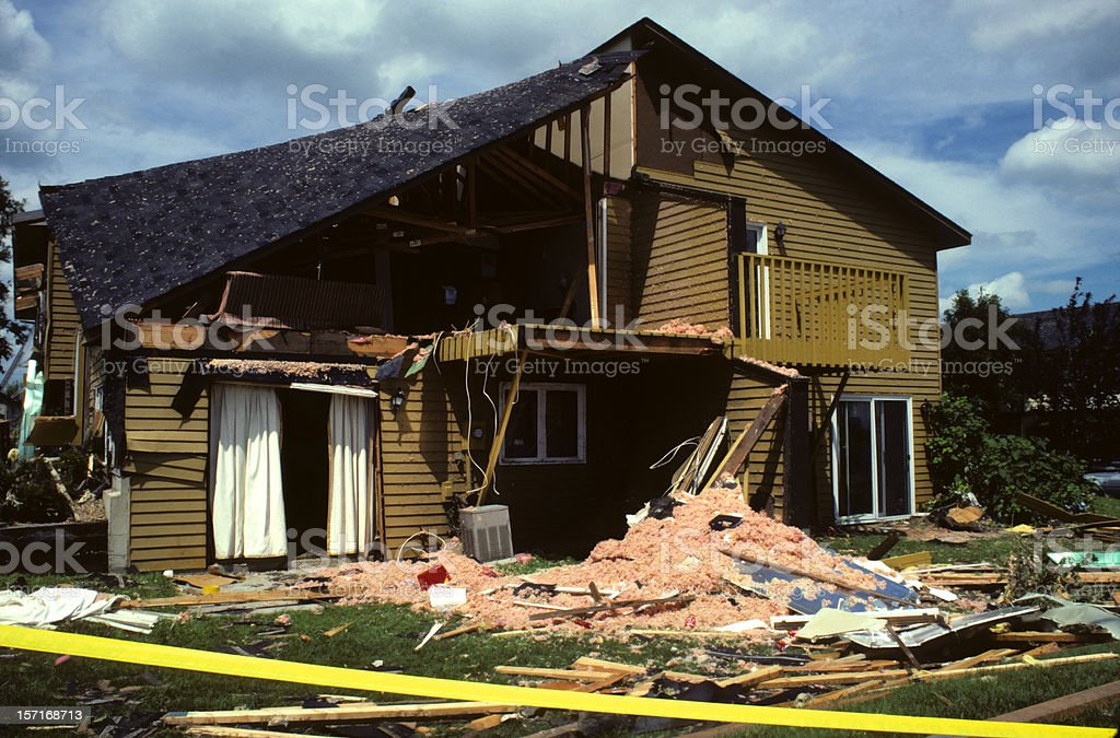 tornado-damaged house royalty-free stock photo