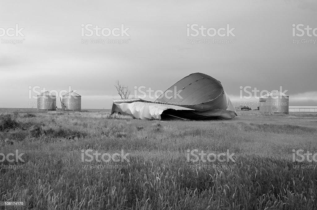 Tornado-destroyed grain silo (B&W) royalty-free stock photo