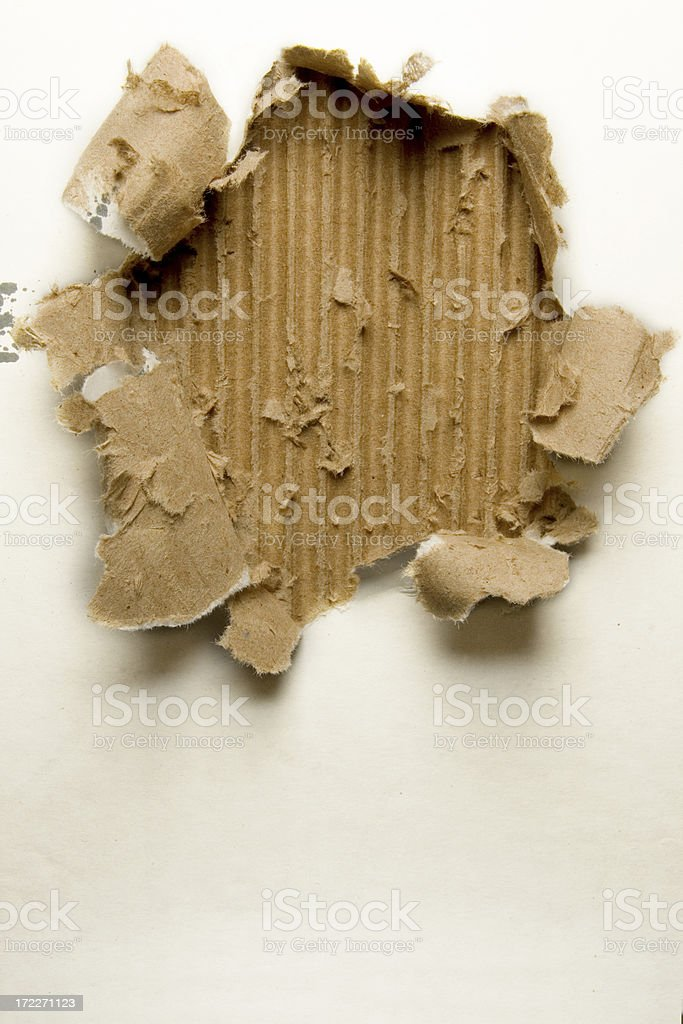Torn/Ripped Corrugated Cardboard royalty-free stock photo