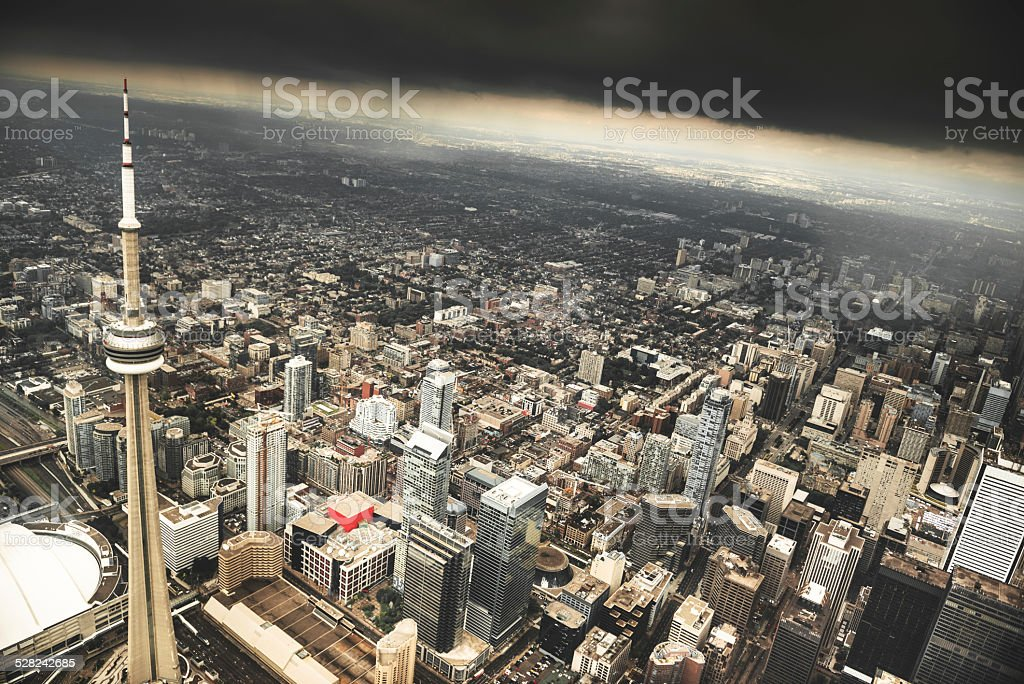 Toronto aerial view during a storm stock photo