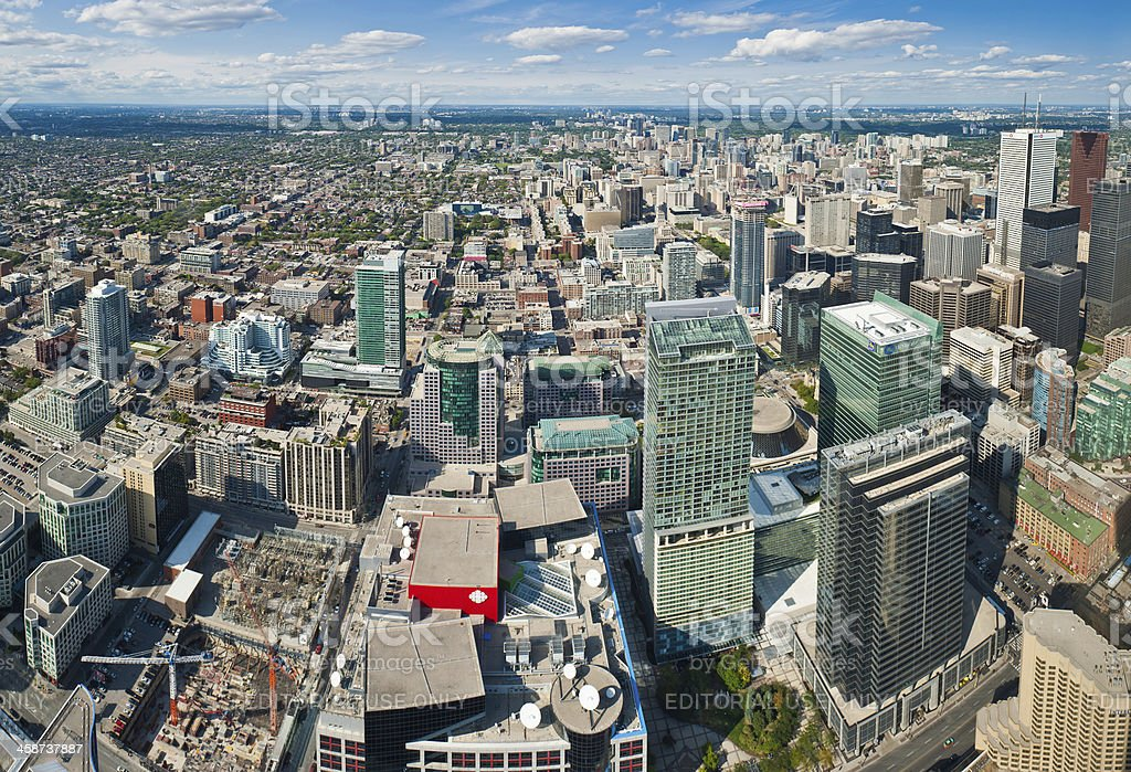 Toronto aerial view over downtown skyscrapers Canada royalty-free stock photo