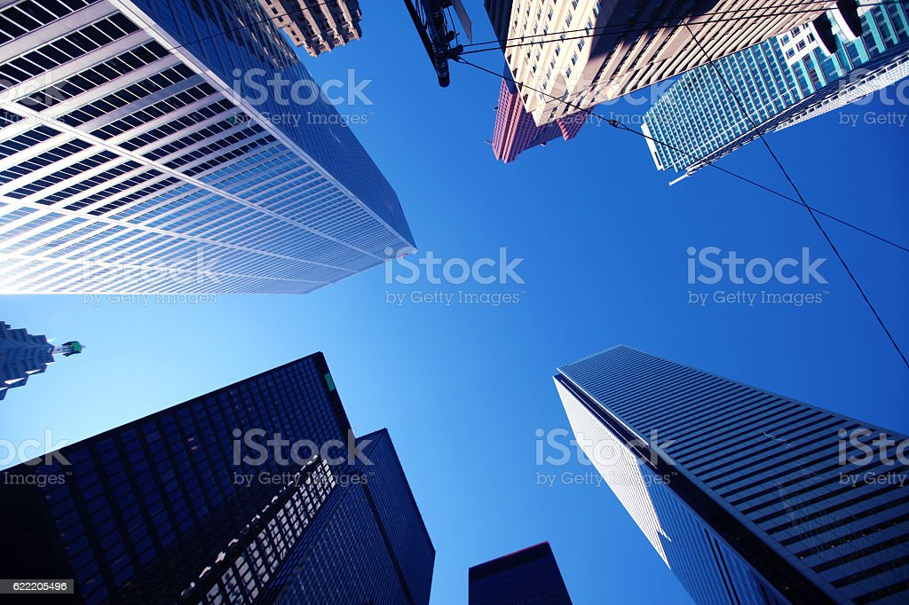 Toronto business and financial centre from below stock photo