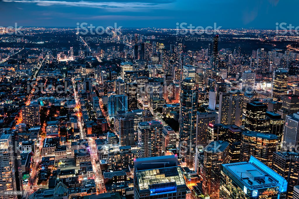 Toronto by night stock photo