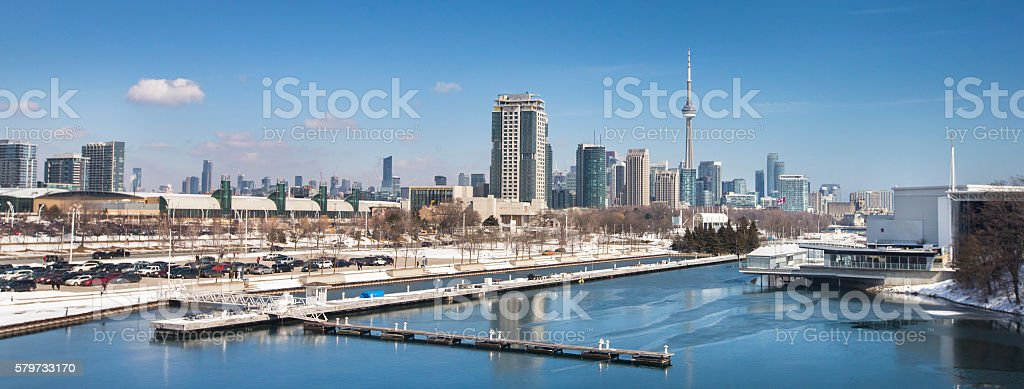 Toronto Canada panoramic in winter stock photo