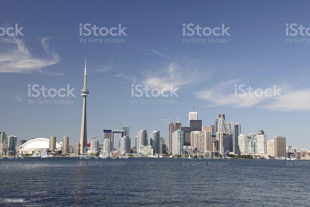 Toronto City and the CN tower in summer royalty-free stock photo