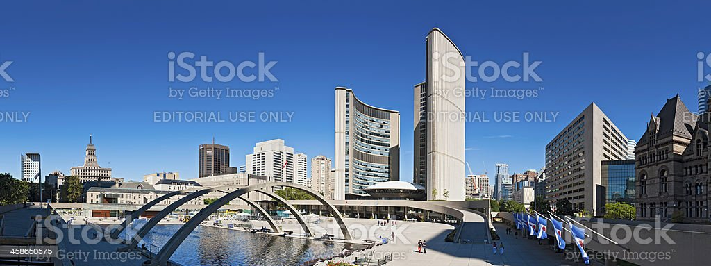 Toronto City Hall Nathan Phillips Square downtown cityscape panorama Canada royalty-free stock photo