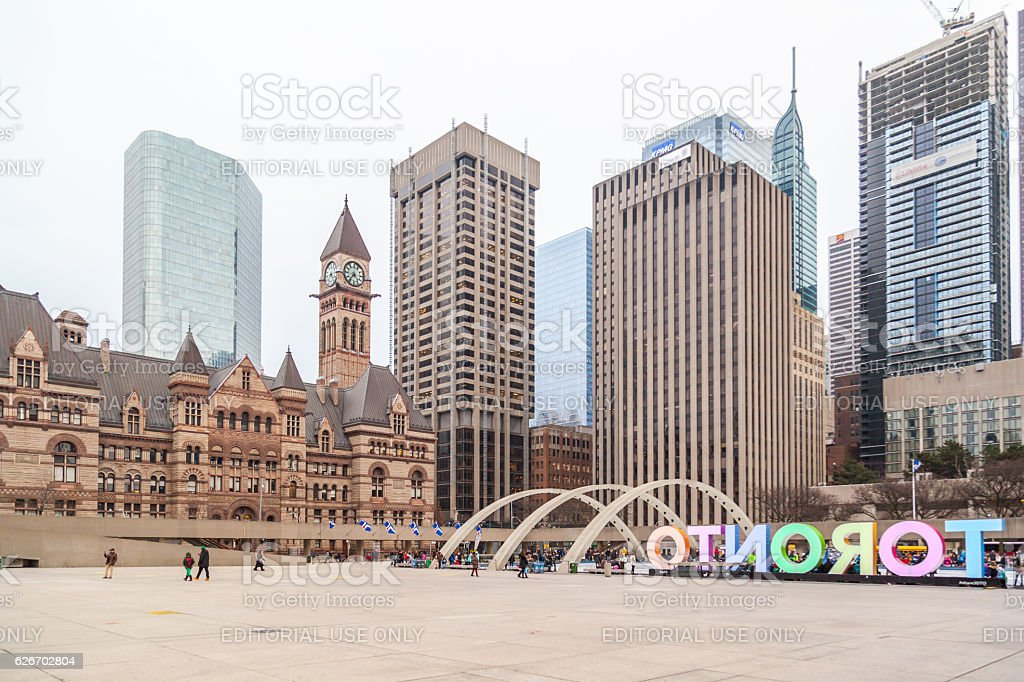 Toronto city hall square (Nathan Phillips Square) stock photo