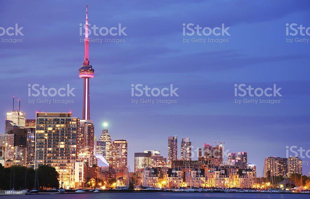 Toronto City Lights at Night royalty-free stock photo