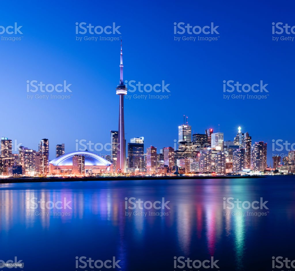 Toronto City Skyline at Night Canada stock photo