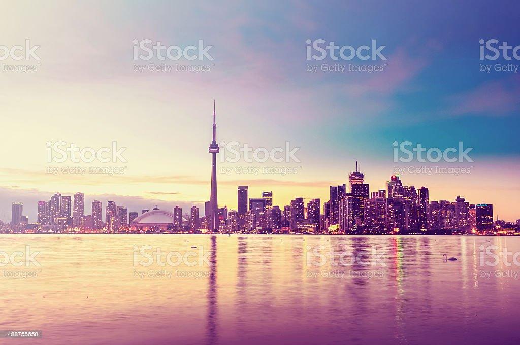 Toronto city skyline at sunset stock photo