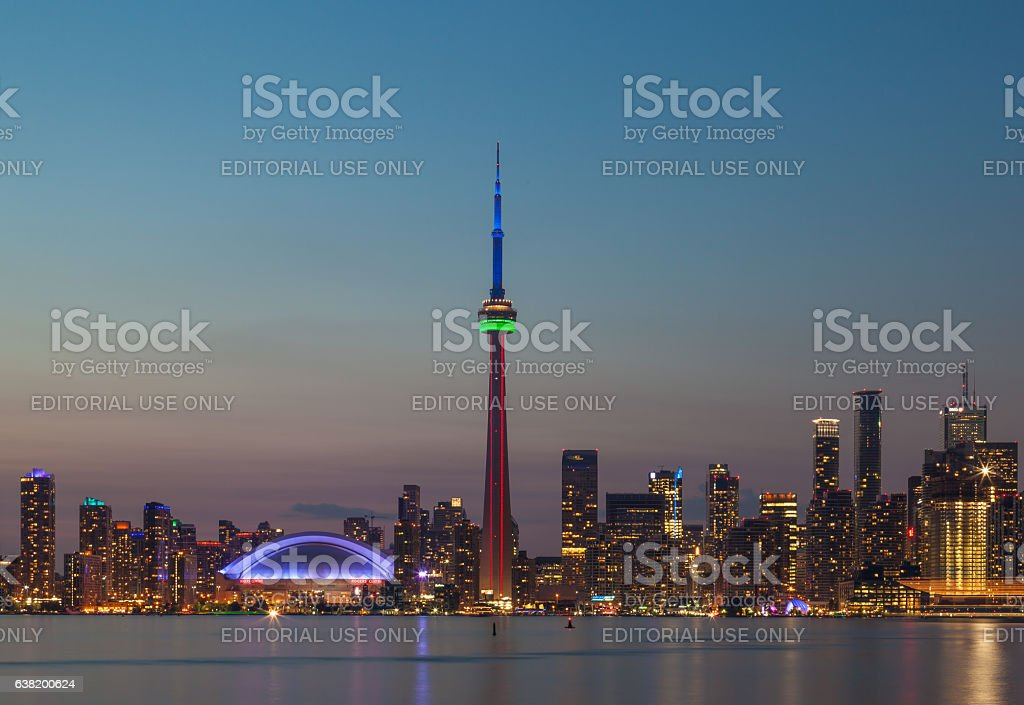 Toronto city skyline from centre island at night stock photo