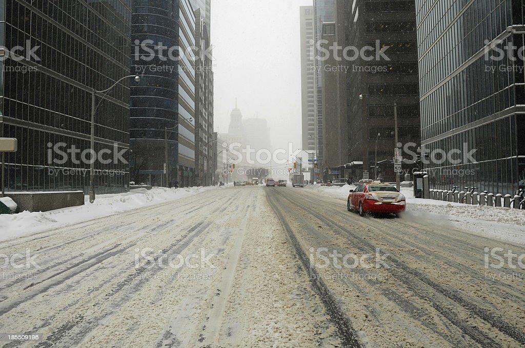 toronto city snowing stock photo