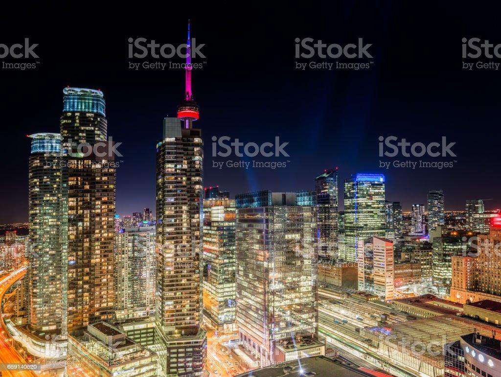 Toronto Cityscape at Night (Panorama) stock photo