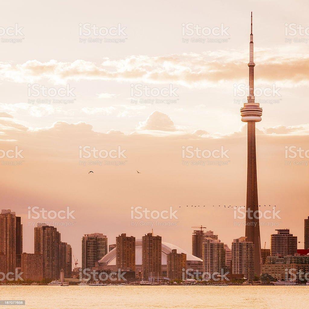 Toronto Cityscape During Sunset stock photo