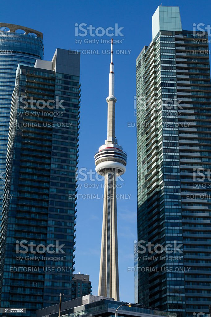 Toronto CN Tower between buildings stock photo