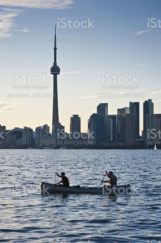 Toronto CN Tower canoeing on Lake Ontario Canada royalty-free stock photo
