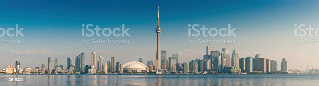 Toronto CN Tower cityscape sunrise panorama Canada stock photo