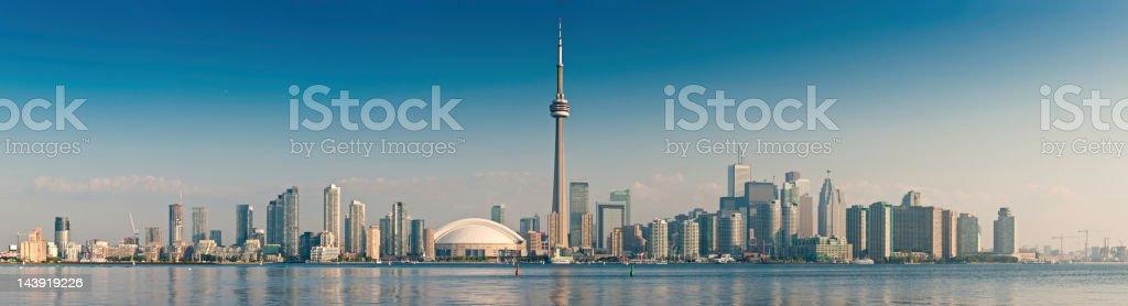 Toronto CN Tower cityscape sunrise panorama Canada stock photo