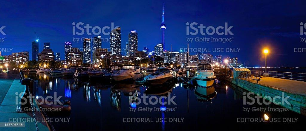 Toronto CN Tower waterfront highrises marina Canada stock photo