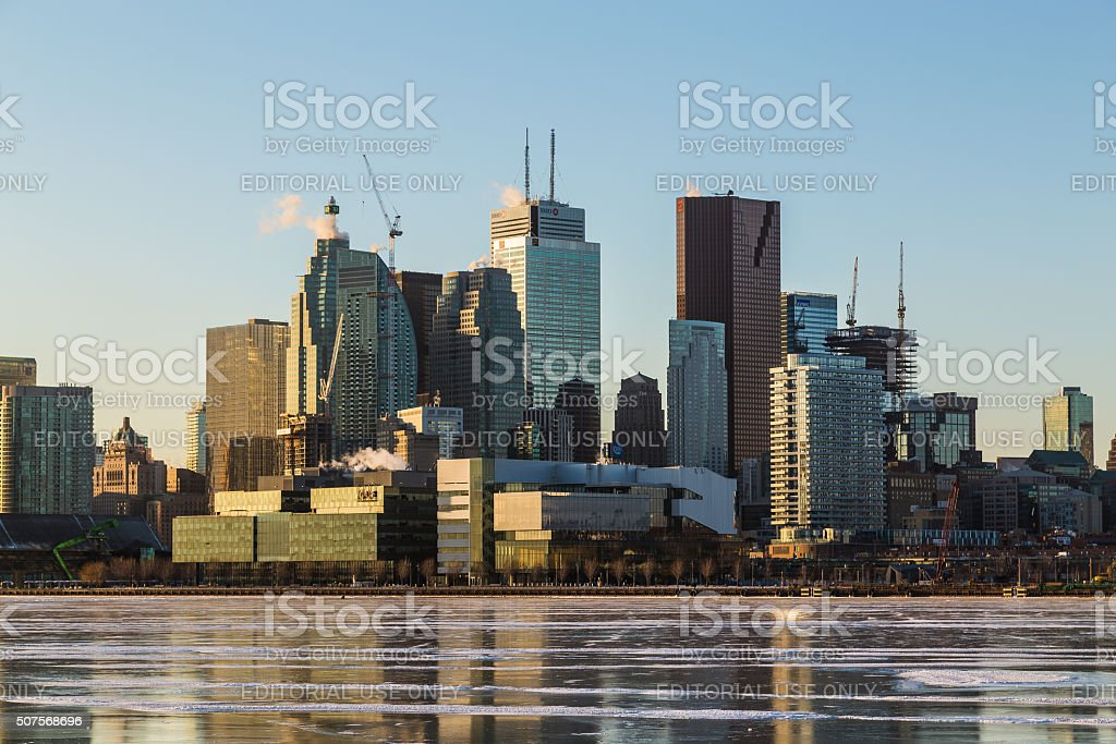 Toronto Downtown Skyline in the Winter Months stock photo