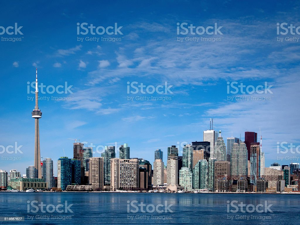 Toronto Downtown Skyline Showing the CN Tower stock photo