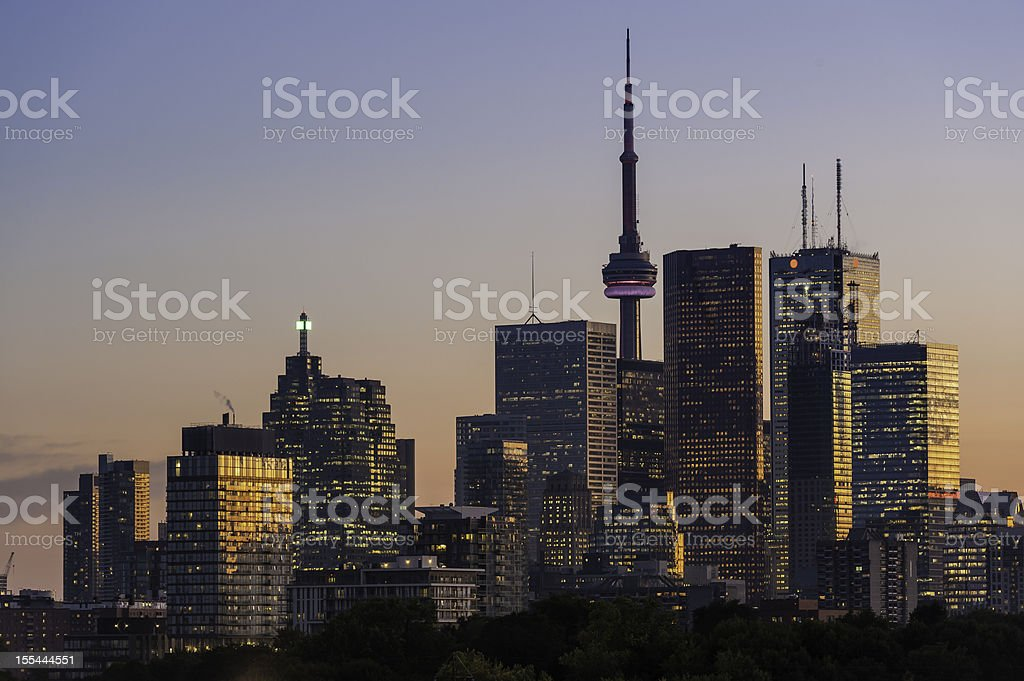 Toronto downtown skyscraper skyline sunset royalty-free stock photo