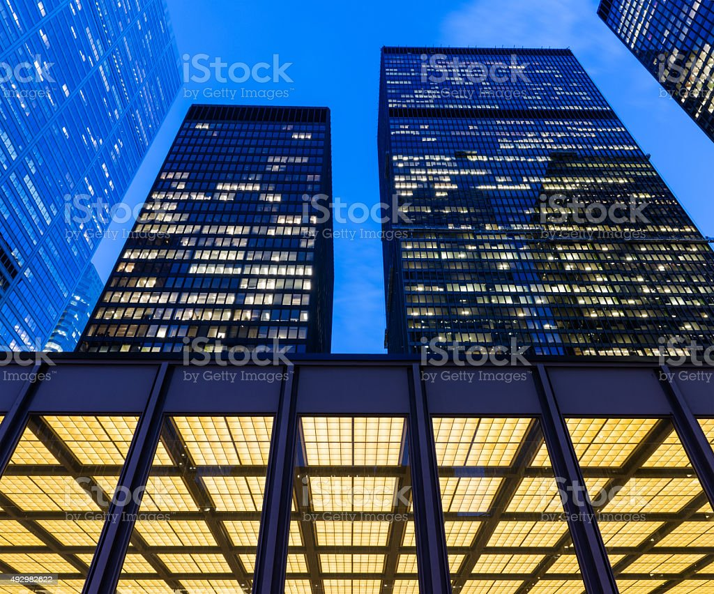 Toronto Financial District at night stock photo