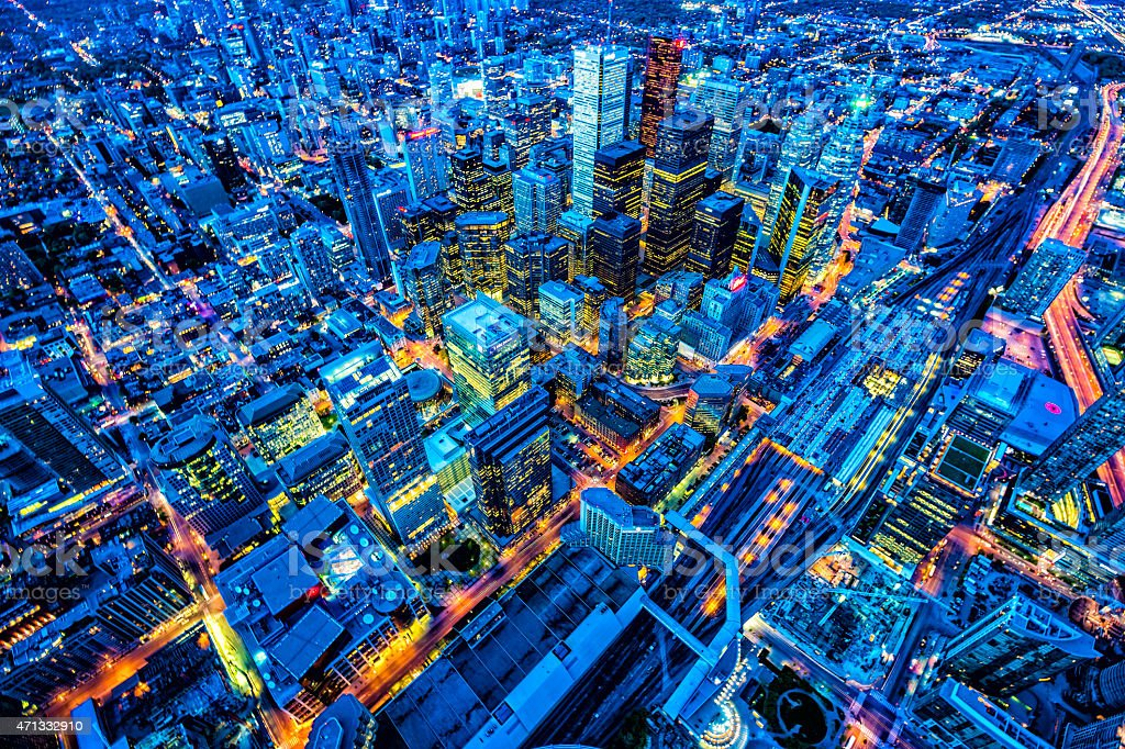 Toronto financial district cityscape at dusk stock photo