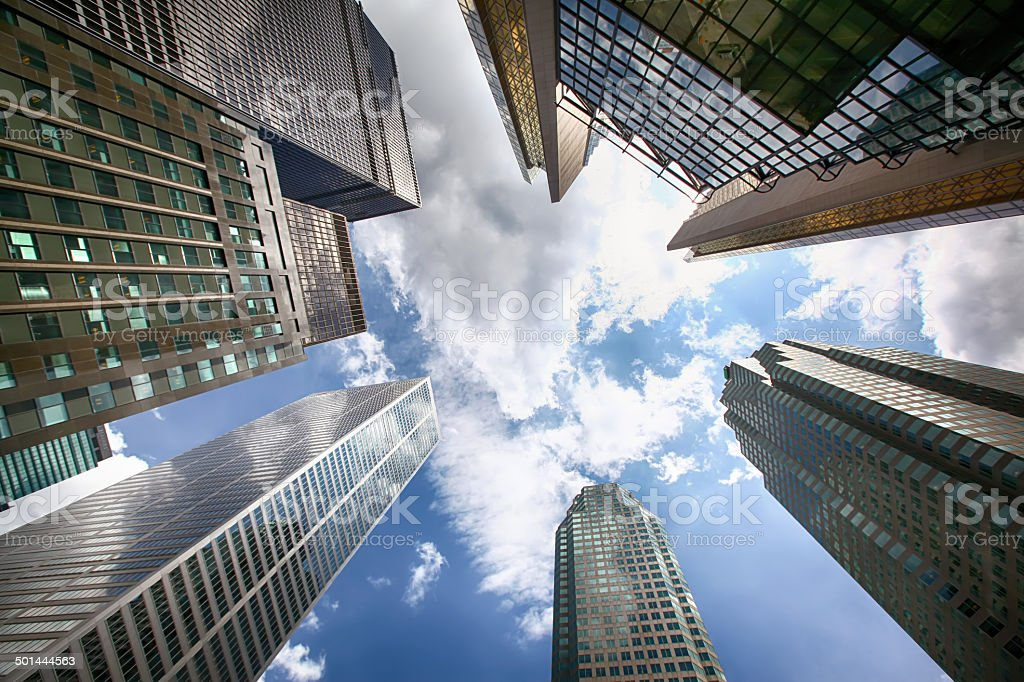 Toronto financial district from below stock photo