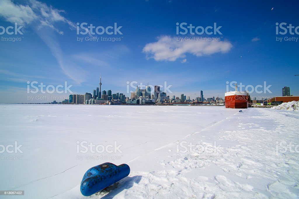 Toronto Harbour Skyline frozen stock photo