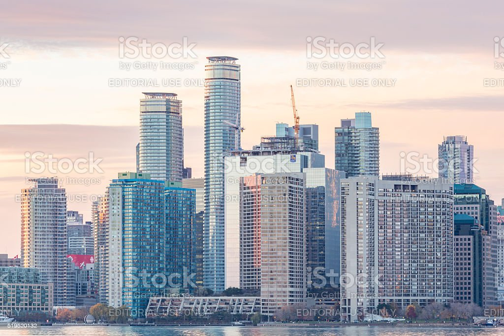 Toronto Harbour  waterfront at sunset stock photo