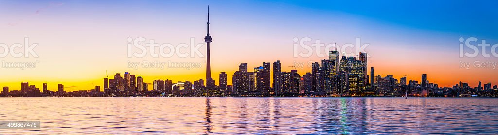 Toronto iconic landmark cityscape skyscraper sunset panorama Lake Ontario Canada stock photo