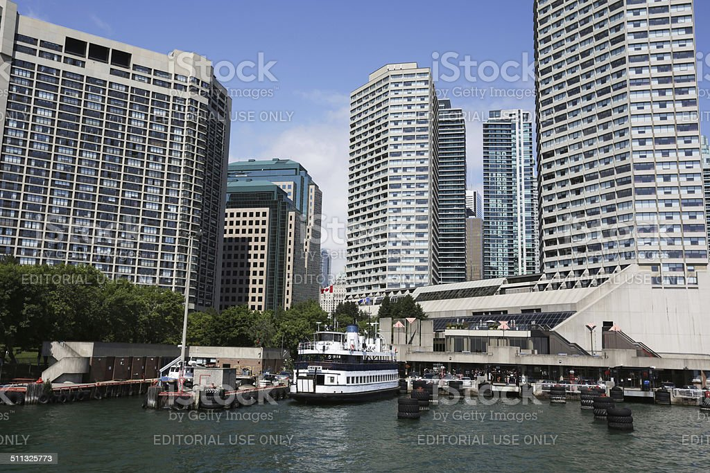 Toronto Island Ferry Terminal and Downtown Buildings in Summer stock photo